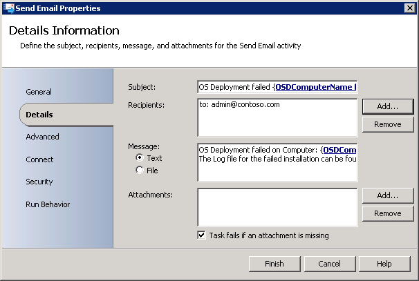 SCCM 2012 + MDT 2012 Update 1   Send e mail using Orchestrator