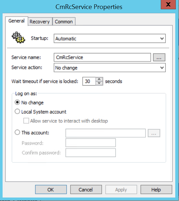 Changing startup to Automatic on the SCCM Remote Control