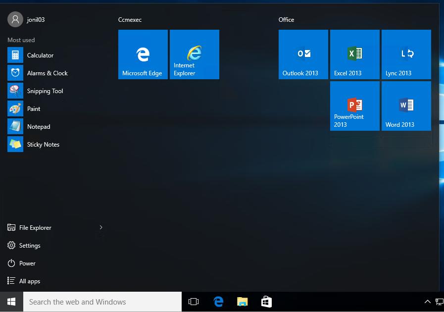Customizing the Windows 10 Start Menu and add IE Shortcut during OSD