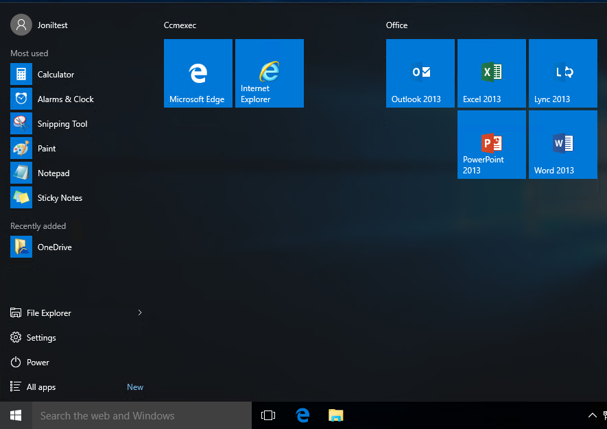 Customizing the Windows 10 Start Menu and add IE Shortcut
