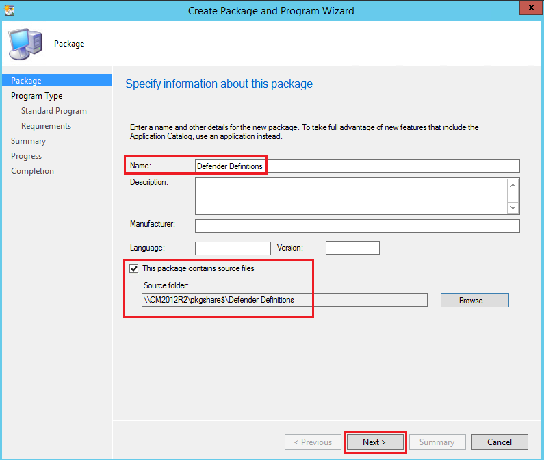 Download and deploy Windows Defender Definitions for Windows