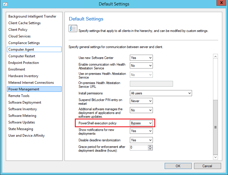 Powershell Client agent setting