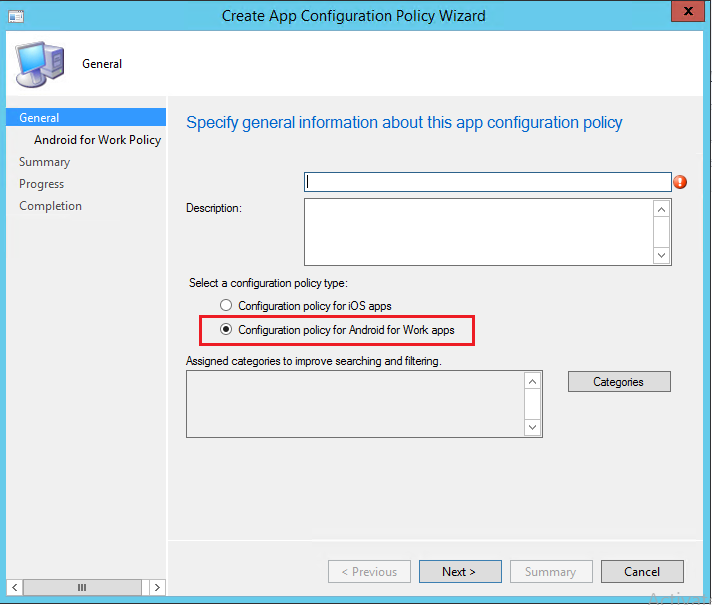 Android for Work configuration