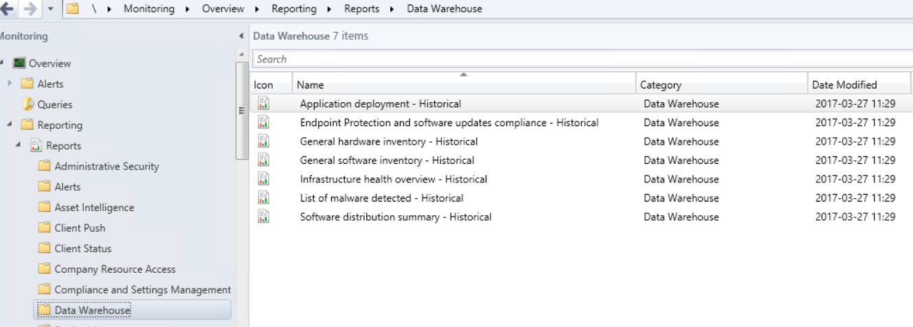 Data Warehouse feature in Configuration Manager 1702