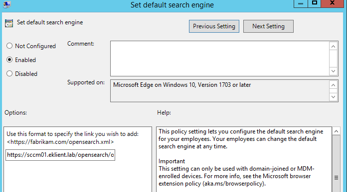 Setting Google as the default search engine in MS Edge in
