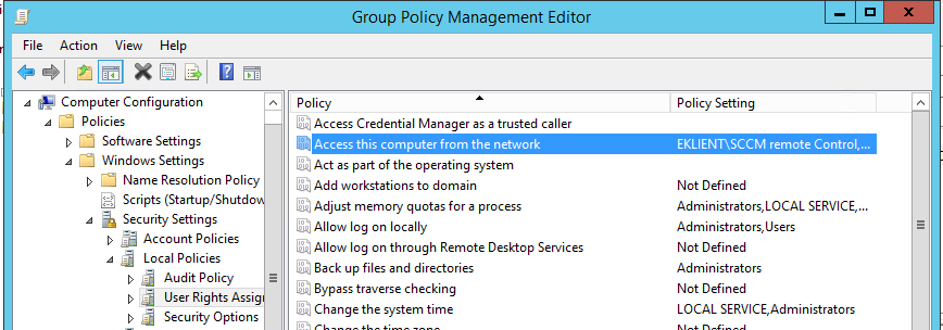 """SCCM remote control and the """"Access this computer from the"""