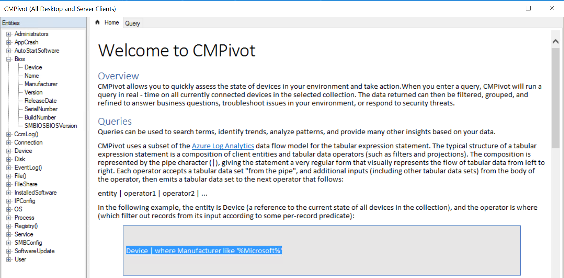CMpivot = Configuration Manager goes real-time! – CCMEXEC