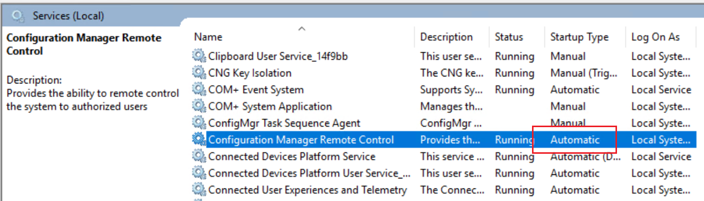 "Remote tools service gets ""Automatic"" start in Configuration"