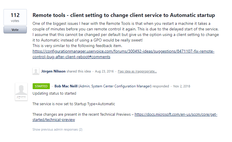 """Remote tools service gets """"Automatic"""" start in Configuration"""