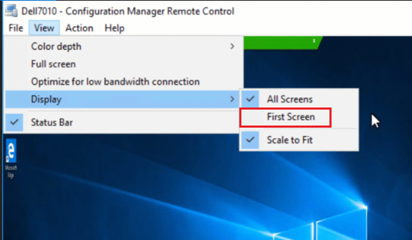 "New Remote Control option ""First Screen"" in ConfigMgr 1902"